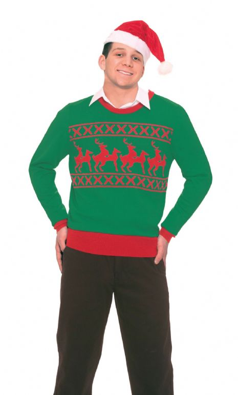 Adults Reindeer Games Sweater Costume Christmas Animal Festive Fancy Dress
